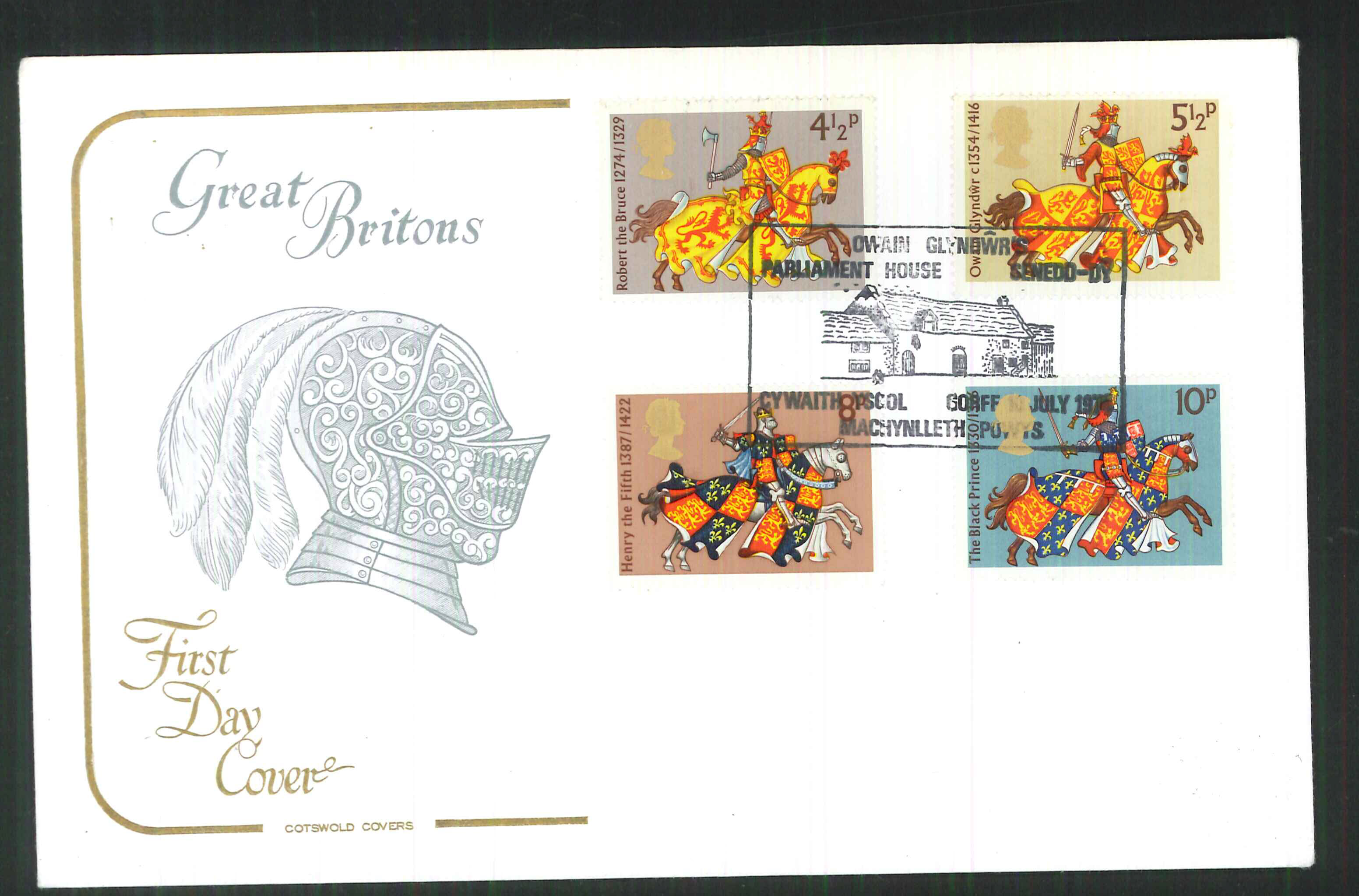 1974 -Cotswold FDC Great Britons Machynilleth Powys Postmark