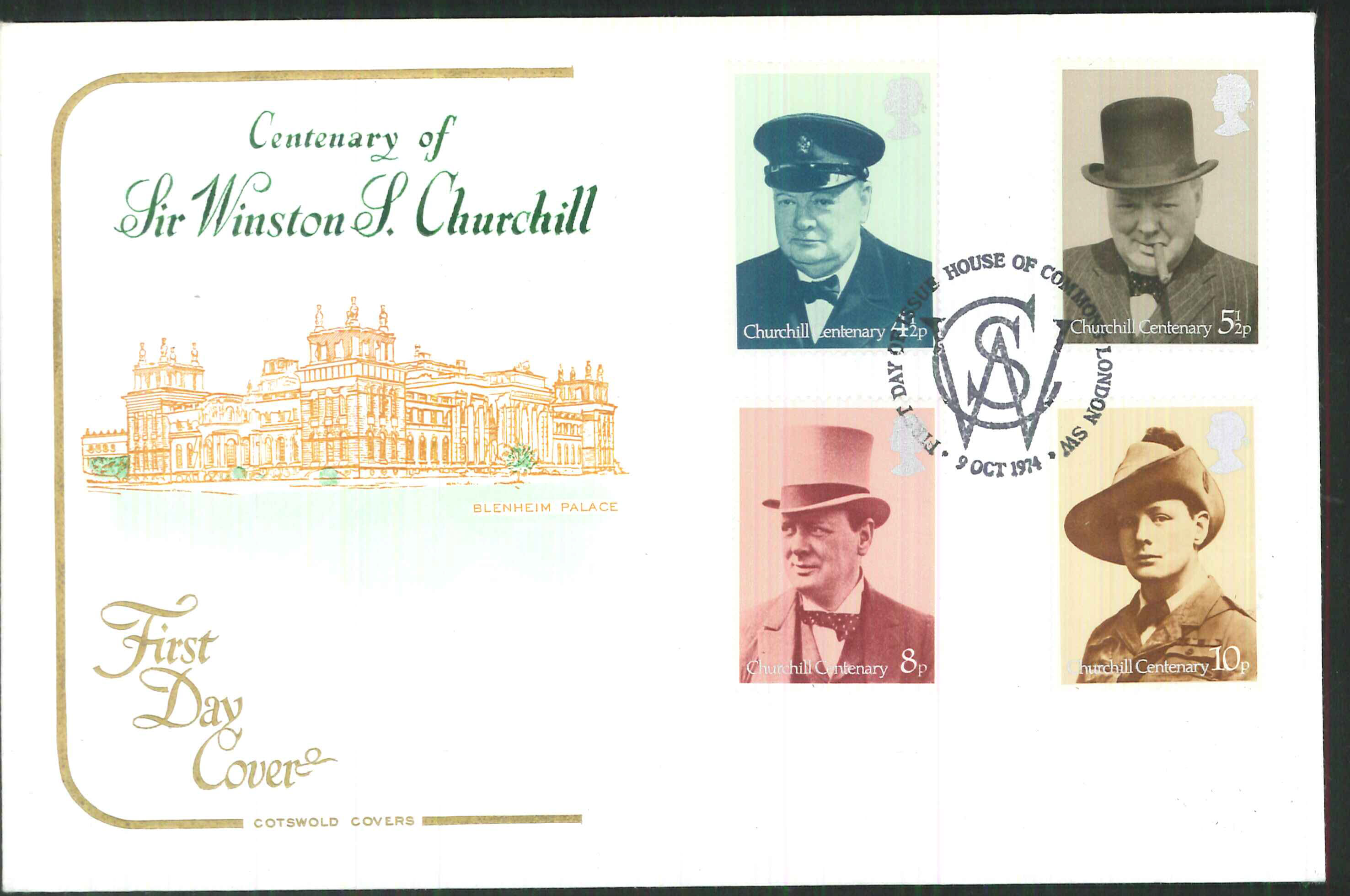 1974 -Cotswold FDC Churchill London S W House of Commons Postmark