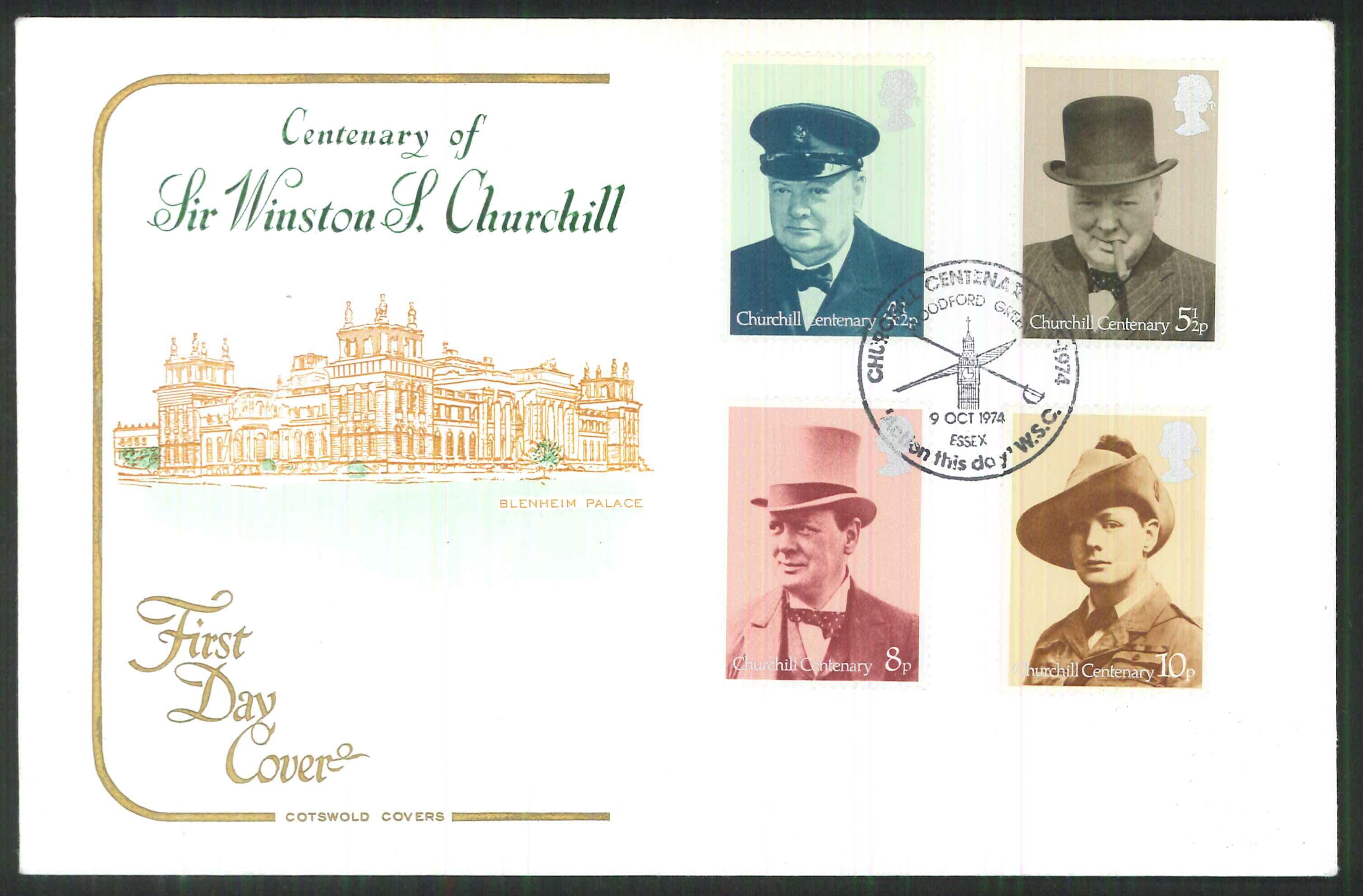 1974 -Cotswold FDC Churchill Woodford Green Action this Day Postmark