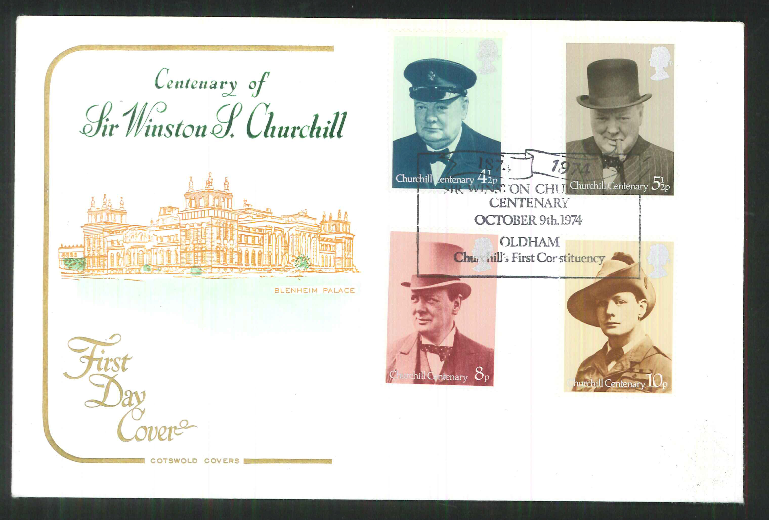 1974 -Cotswold FDC Churchill Oldhan First Constituency Postmark