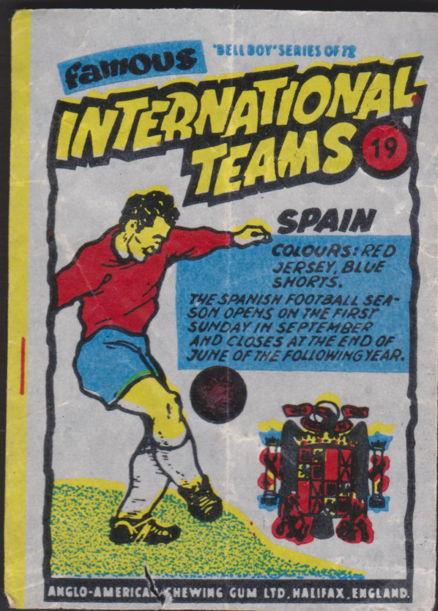 Anglo-American-Chewing-Gum-Wax-Wrapper-Famous International Teams -No-19 - Spain