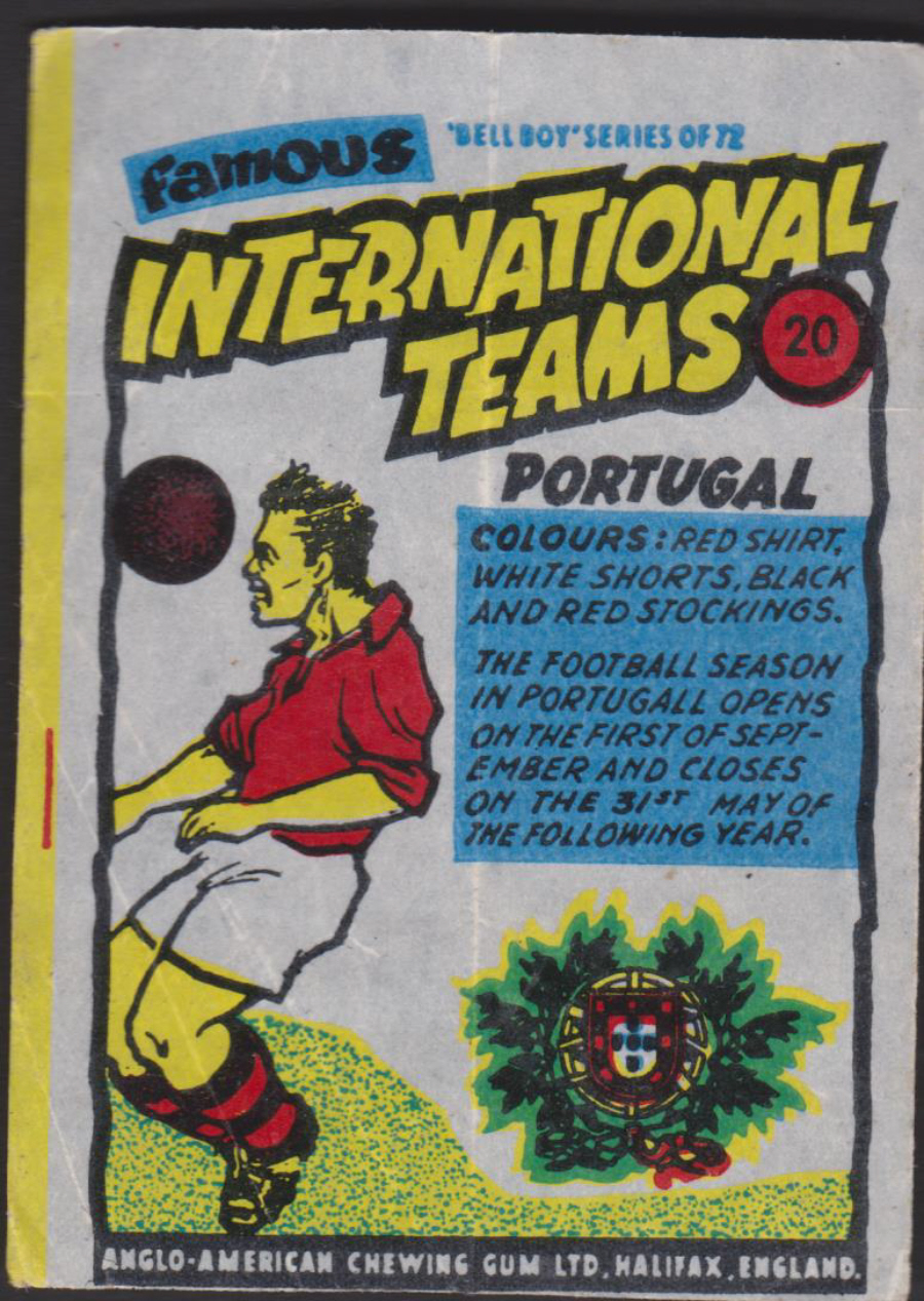 Anglo-American-Chewing-Gum-Wax-Wrapper-Famous International Teams -No-20 - Portugal