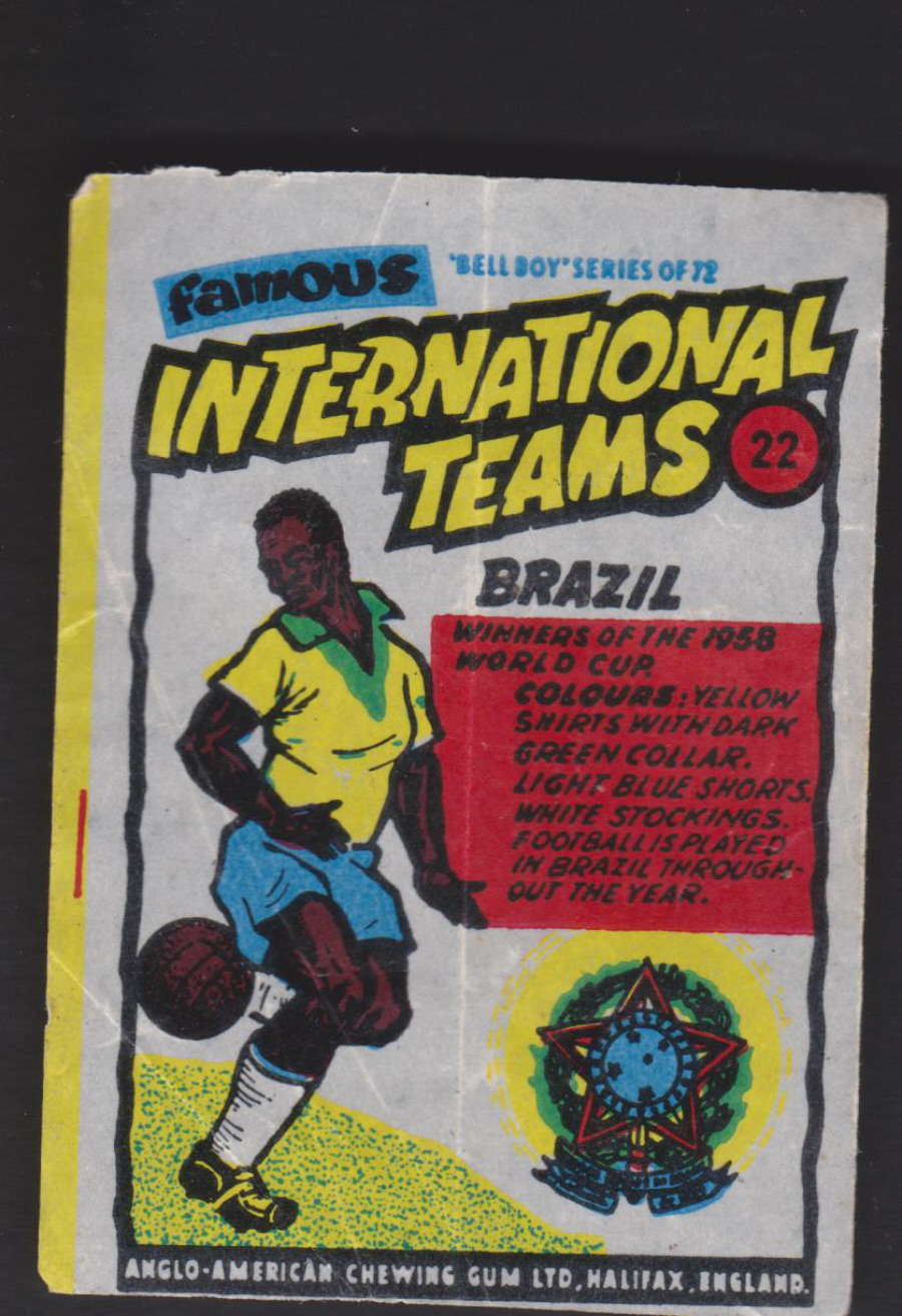 Anglo-American-Chewing-Gum-Wax-Wrapper-Famous International Teams -No-22 - Brazil