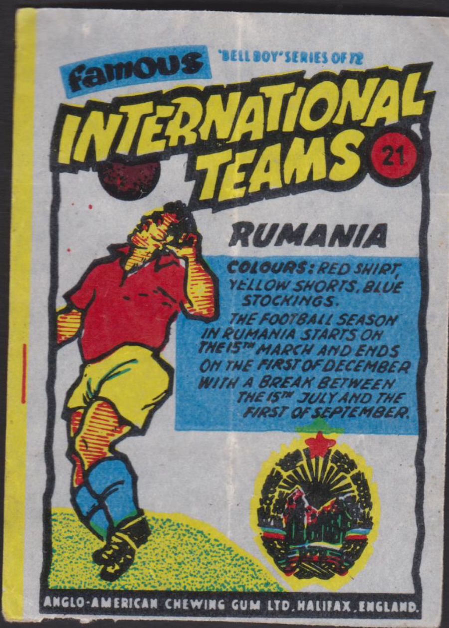Anglo-American-Chewing-Gum-Wax-Wrapper-Famous International Teams -No-21 - Rumamia