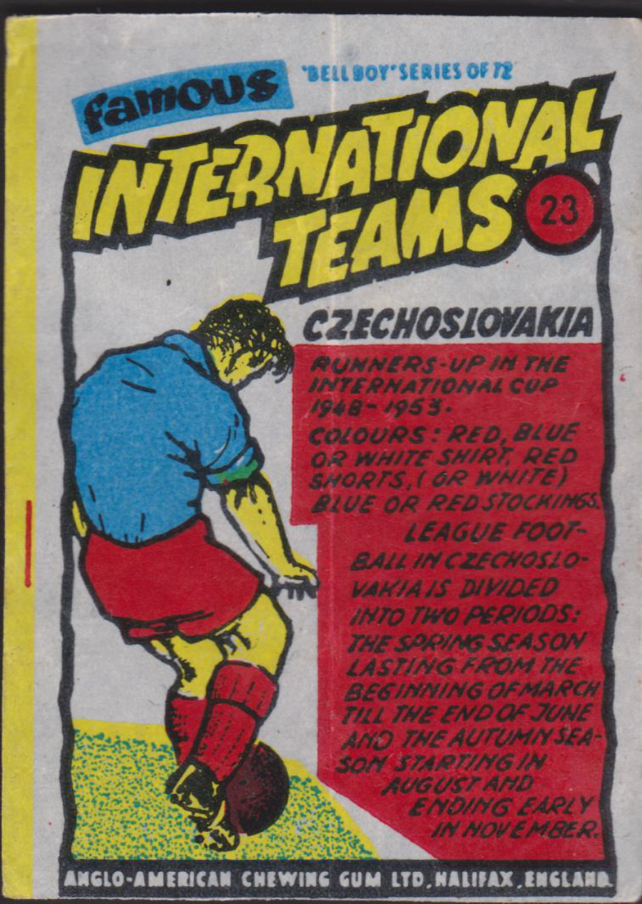 Anglo-American-Chewing-Gum-Wax-Wrapper-Famous International Teams -No-23 -Czechoslovakia