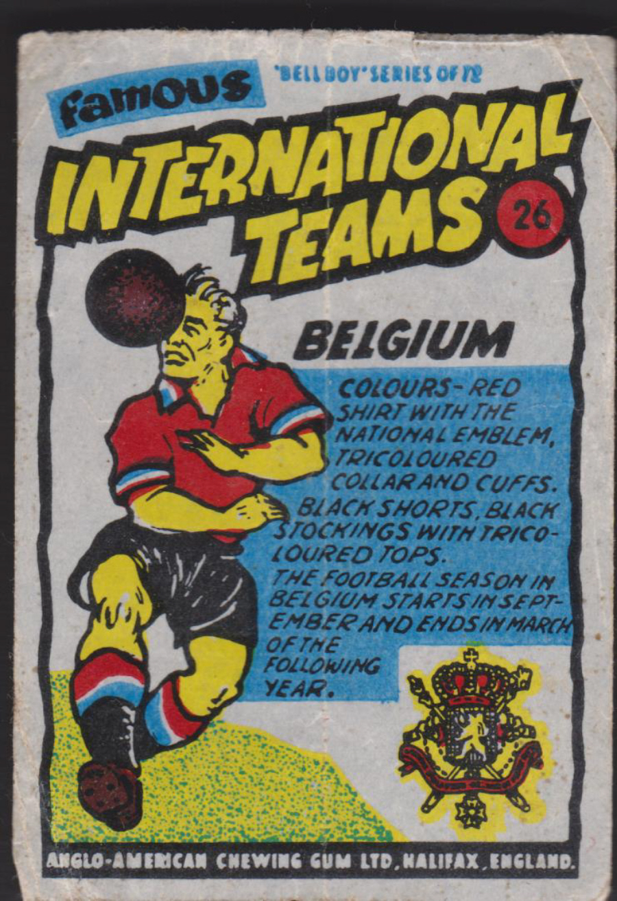 Anglo-American-Chewing-Gum-Wax-Wrapper-Famous International Teams -No-26 -Belgium