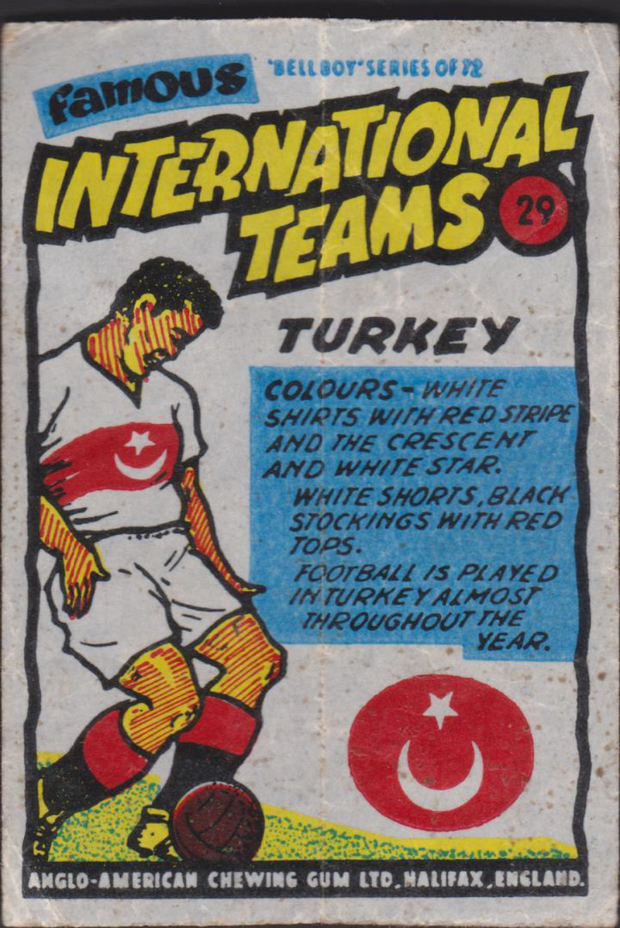 Anglo-American-Chewing-Gum-Wax-Wrapper-Famous International Teams -No-29 -Turkey