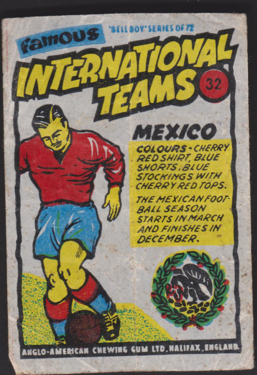 Anglo-American-Chewing-Gum-Wax-Wrapper-Famous International Teams -No-32 - Mexico