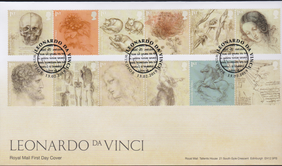 2019 FDC -Leonardo da Vinci FDC Windsor different Postmark