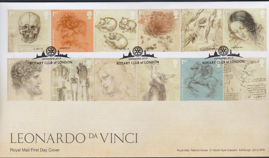 2019 FDC -Leonardo da Vinci FDC Rotary Club of London Postmark