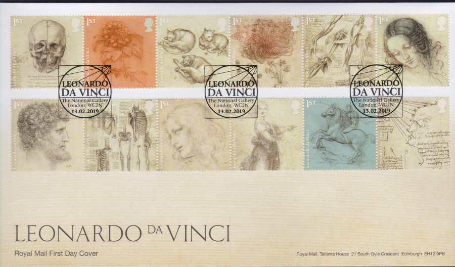 2019 FDC -Leonardo da Vinci FDC National Gallery London Postmark