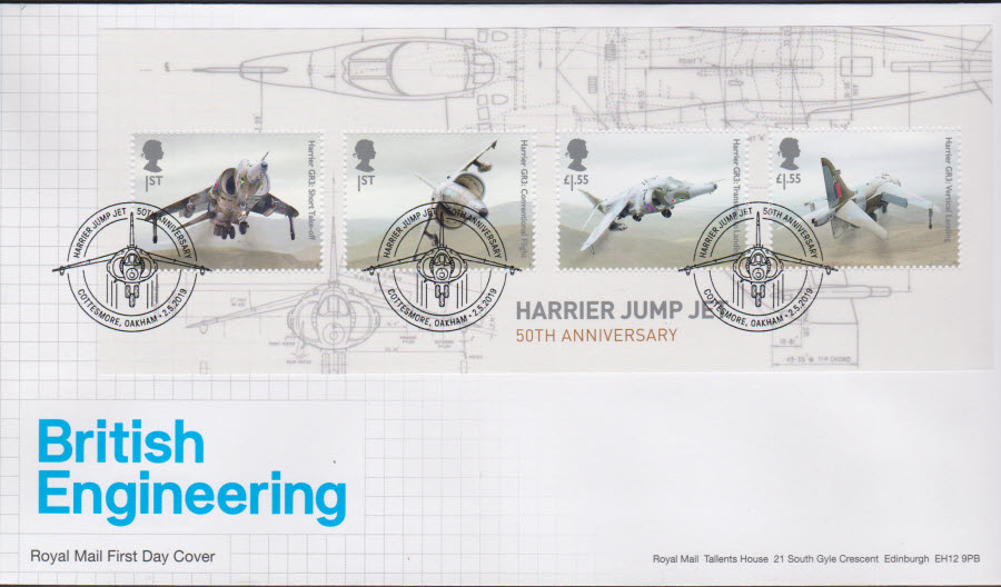 2019 FDC -British Engineering Mini Sheet FDC Cottesmore Oakham Postmark