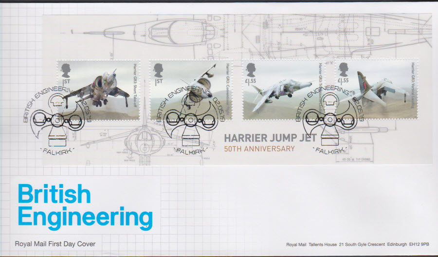 2019 FDC -British Engineering Mini Sheet FDC Falkirk Postmark